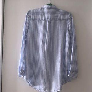 GAP Tops - GAP Oversized Boyfriend Shirt Blue White Stripe
